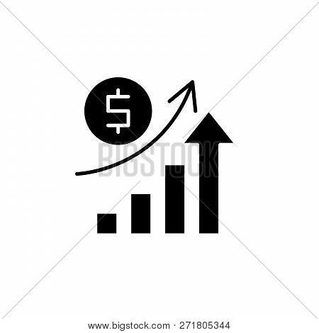 Economic Growth Black Icon, Vector Sign On Isolated Background. Economic Growth Concept Symbol, Illu