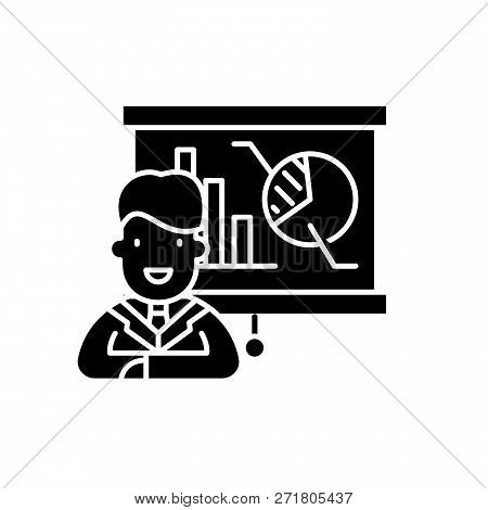 Marketing Director Black Icon, Vector Sign On Isolated Background. Marketing Director Concept Symbol