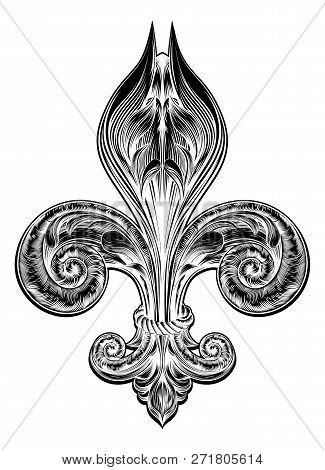 Original Illustration Of A Fleur De Lis Decorative Design Or Heraldic Symbol In A Vintage Woodblock