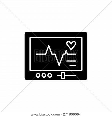 Pacemaker Black Icon, Vector Sign On Isolated Background. Pacemaker Concept Symbol, Illustration