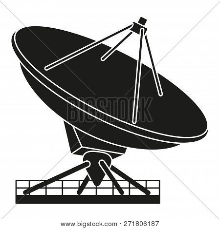 Black And White Radar Antena Silhouette. Science Navigational Equipment. Media Theme Vector Illustra