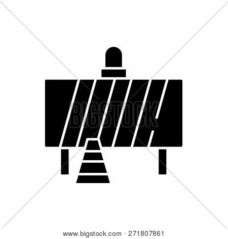 Attention Construction Work Black Icon, Vector Sign On Isolated Background. Attention Construction W