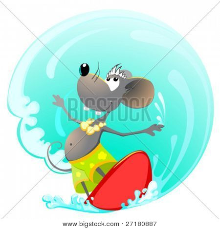 mouse on the surfing board
