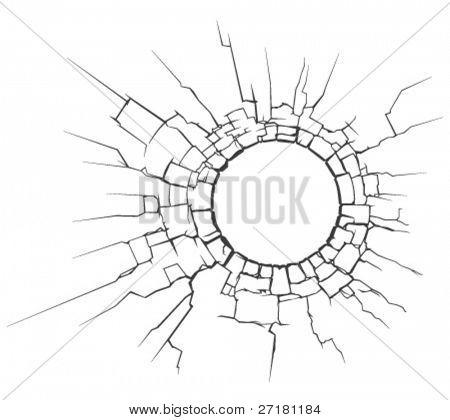 vector illustration of circle crack