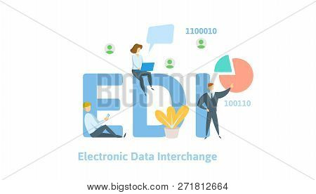 Edi, Electronic Data Interchange. Concept With Keywords, Letters And Icons. Flat Vector Illustration