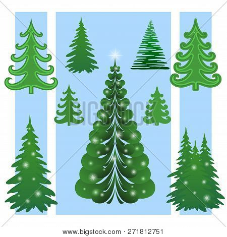 Set Of Green Christmas Trees With White Flashes, Winter Symbols For Holiday Design. Vector