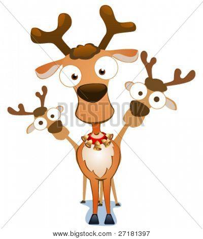 Vector illustration of cartoon deers