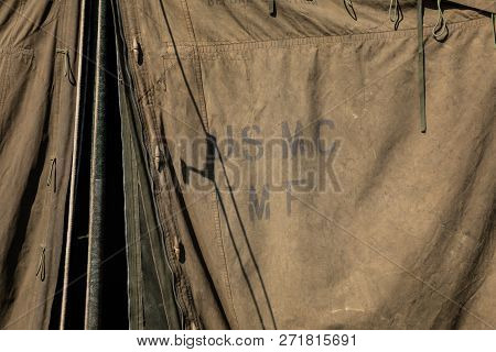 Green Military Tent With Usmc Initials (united States Marine Corps)