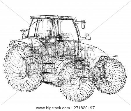 Farm Tractor Concept. 3d Illustration. Wire-frame Style
