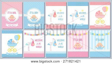 Baby Shower Boy Girl Card. Vector. Baby Girl Boy Design. Cute Pink Blue Poster. Birth Party Backgrou