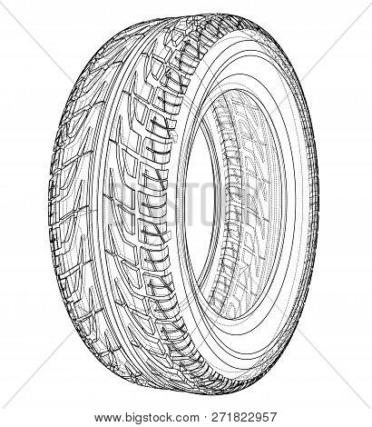 Car Tire Concept. 3d Illustration. Wire-frame Style