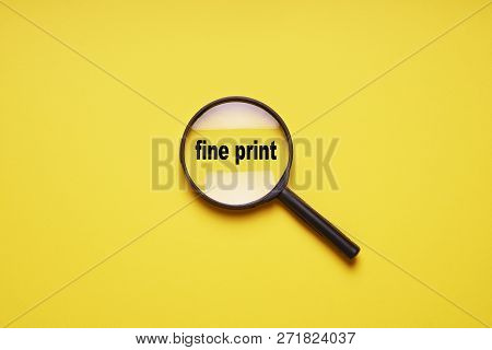 Fine Print Enlarged With Magnifying Glass Magnifier Loupe, Minimal Concept On Yellow Background With