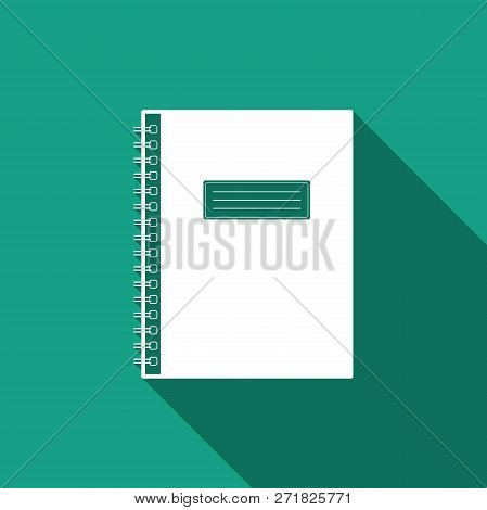 Notebook Icon Isolated With Long Shadow. Spiral Notepad Icon. School Notebook. Writing Pad. Diary Fo