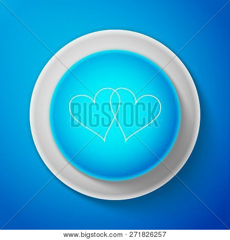 White Two Linked Hearts Icon Isolated On Blue Background. Heart Two Love Sign. Romantic Symbol Linke