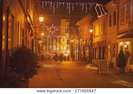 Christmas Decorated Gyor Downtown Street At Night