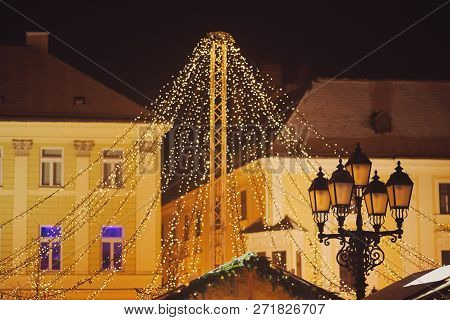 Christmas Decoration Light Garland In Gyor Downtown At Night
