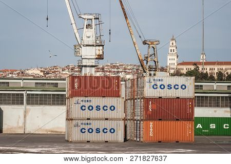 Container Port And Cargo Ship In Haydarpasa District