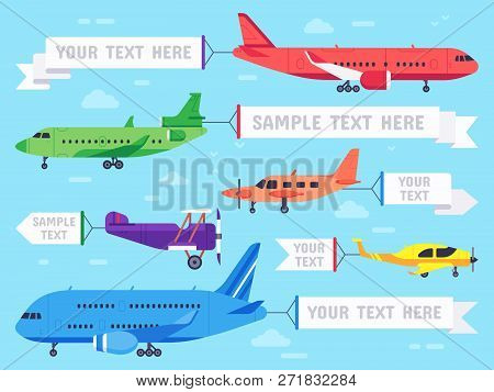 Airplane With Banner. Flying Ad Aeroplane, Aviation Aircraft Banners And Airline Plane Ads Vector Il