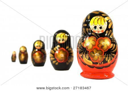 Russian dolls is sequence isolated on white