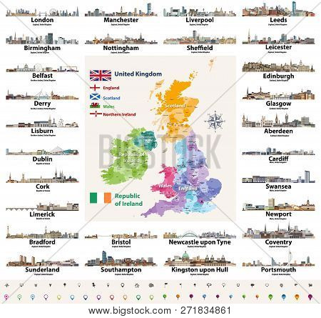 Vector Set Of British Isles Countries Cities Skylines Abstract Icons. Map And Flags Of British Isles