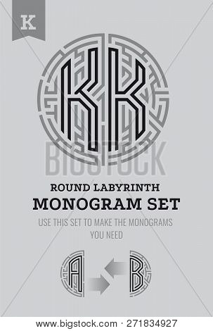 K Letter Maze. Set For The Labyrinth Logo And Monograms, Coat Of Arms, Heraldry, Abbreviation.