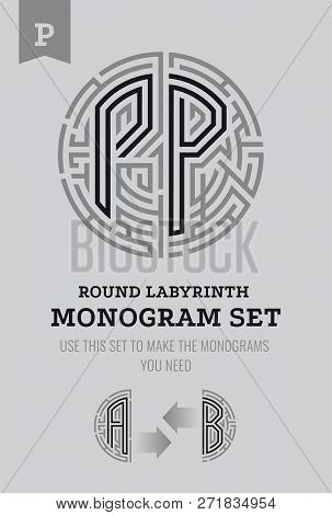 P Letter Maze. Set For The Labyrinth Logo And Monograms, Coat Of Arms, Heraldry, Abbreviation.
