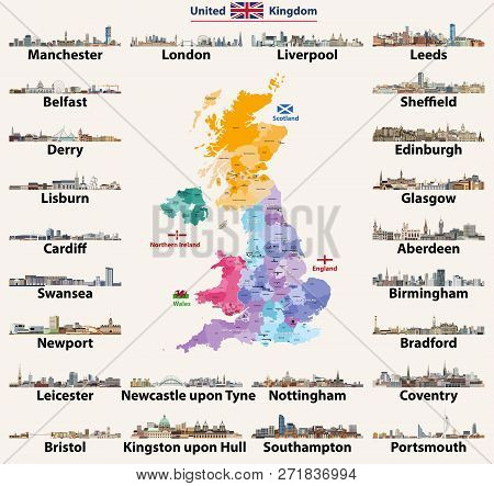 United Kingdom Cities Skylines. Detailed Map Of United Kingdom With Countries (england, Wales, Scotl