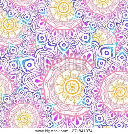 Seamless Multicolor Pattern With Oriental Mandalas. Hippie Mandala Pattern. Kaleidoscope Elements. F
