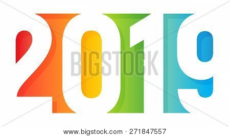 2019 Happy New Year Logo. Paper Application Design Style. Rainbow Colored Greeting Card Cover. Negat