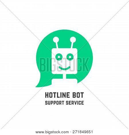 Green Hotline Bot Logo Like Support Service. Flat Simple Trend Modern Friendly Logotype Design Illus