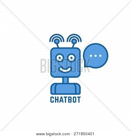 Blue Linear Chatbot Logo With Bubble. Outline Flat Trend Modern Friendly Logotype Design Illustratio