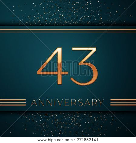 Realistic Forty Three Years Anniversary Celebration Design Banner. Golden Number And Confetti On Gre