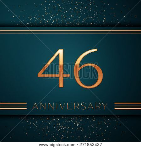 Realistic Forty Six Years Anniversary Celebration Design Banner. Golden Number And Confetti On Green