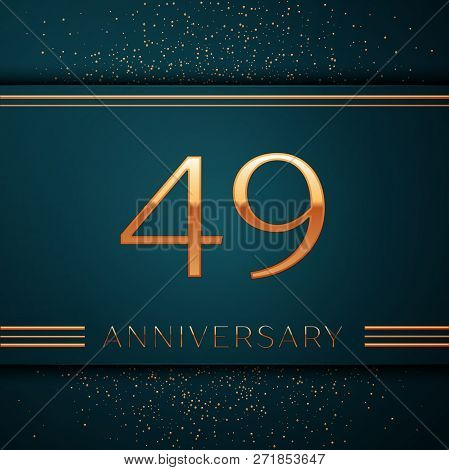 Realistic Forty Nine Years Anniversary Celebration Design Banner. Golden Number And Confetti On Gree