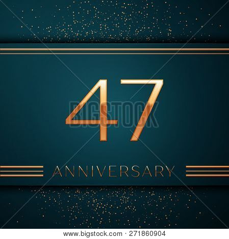 Realistic Forty Seven Years Anniversary Celebration Design Banner. Golden Number And Confetti On Gre