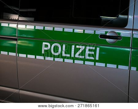 Image Of Letters Polizei On A German Police Car