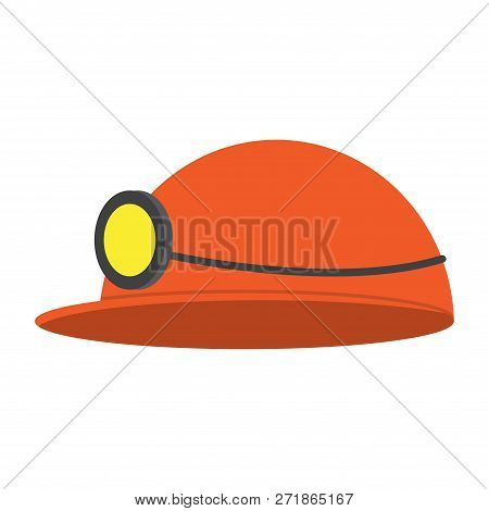 Vector Illustration Of A Miners Helmet With A Lamp On A Color Background. Flat Icon