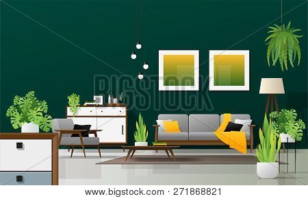 Interior Background Of Modern Living Room In Natural Concept With Wooden Furniture , Plants, And Gre
