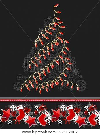 Greeting card with Christmas tree made of electric garland poster
