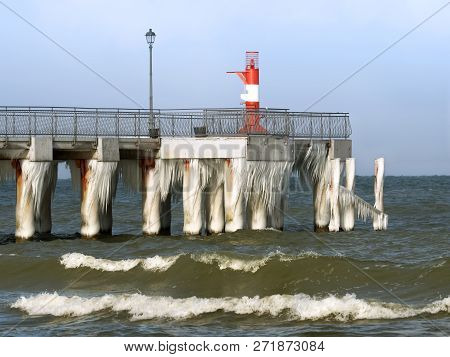 Icy Pier, Icicles On The Pier, Ice On The Pier In Winter