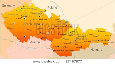 Abstract vector color map of Czech Republic and Slovakia country poster