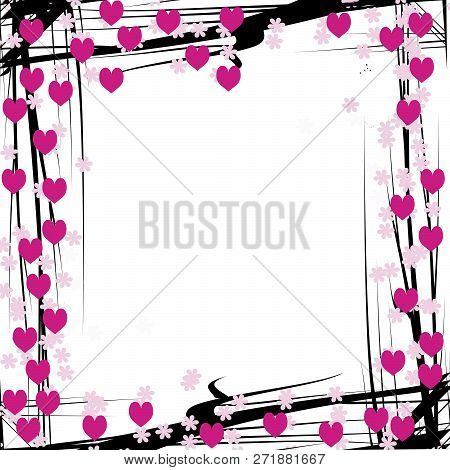 Wooden Frame For Painting Or Picture On White Background. Gold Frame Photo Isolated. Gold Frame On W