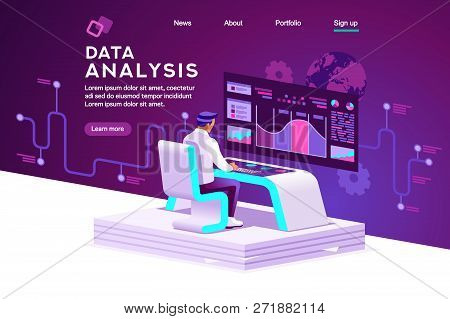 Interface To Tracking Website Interaction. Software Data Interacting With Infographic, Database Or D