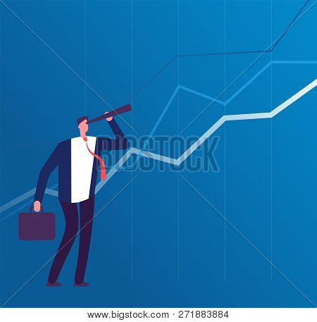 Business Vision. Businessman With Telescope Looking To Future Success. Leadership And Strategy Plan