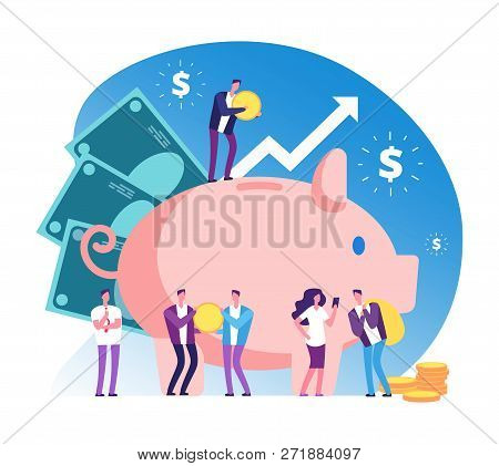 Piggy Bank And People. Deposit Money Bank, Wealth And Cash Accumulator Financial Vector Concept. Ill
