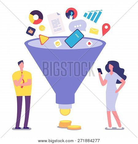 Sale Funnel. Lead Management Optimization And Generation. Sale Conversion Vector Illustration. Marke