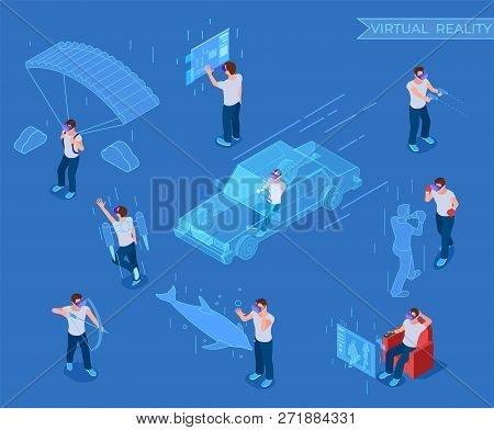 People In Virtual Reality. Man In Headset, Vr Simulation Equipment. 3d Isometric Vector Characters V