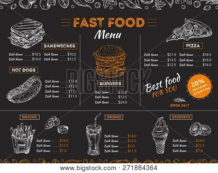 Fast Food Menu. Sketch Sandwich Burger, Pizza Snacks Vintage Design On Chalkboard. Fast Food Restaur