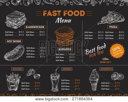 Fast Food Menu. Sketch Sandwich Burger, Pizza Snacks Vintage Design On Chalkboard. Fast Food Restaur