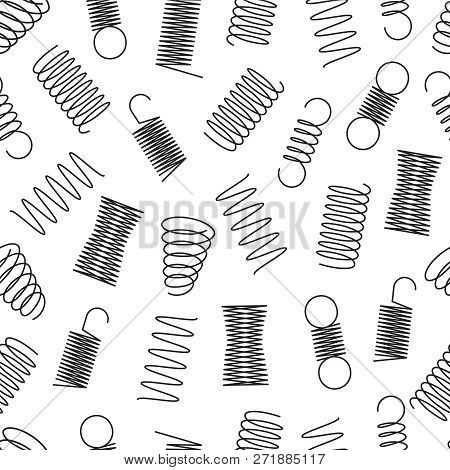 Metal Springs Seamless Pattern. Steel Coil Spirals, Flexible Wire Elastic Lines Endless Vector Textu